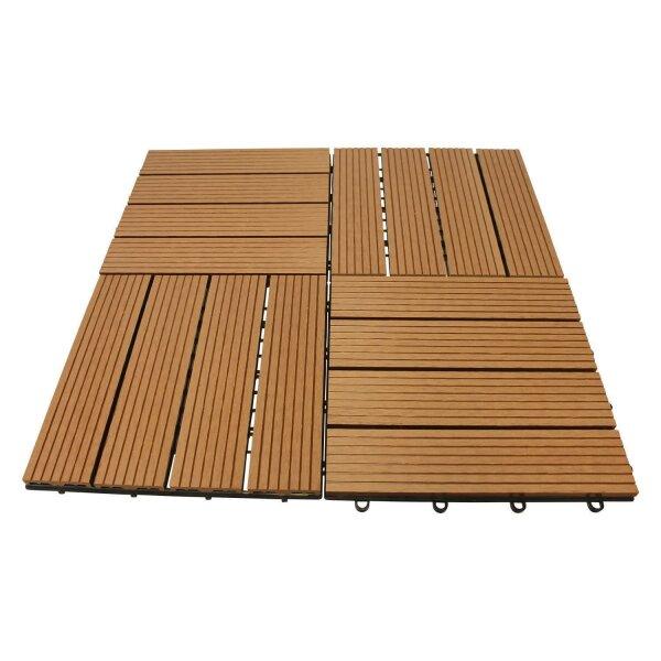 GALA-IMPORT WPC Holz Fliese 30x30cm (1m² = 11 Fliesen)